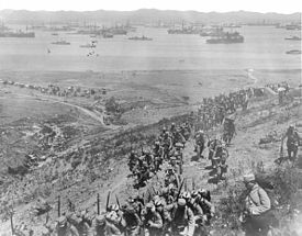 World War 1 Picture - Landing of French troops on Lemnos island, 1915.