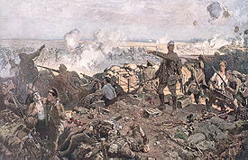 World War 1 Picture - An artist's rendition of Canadian troops at the Second Battle of Ypres