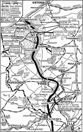 World War 1 Picture - A map of the battles in and around Ypres October-November 1914.