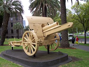 World War 1 Picture - Turkish Howitzer captured near Huj now on display outside Victoria Barracks, Melbourne.