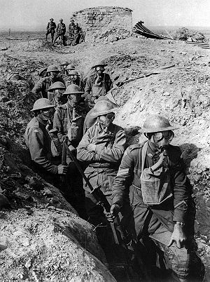 World War 1 Picture - Australian infantry with gas masks, Ypres, 1917.