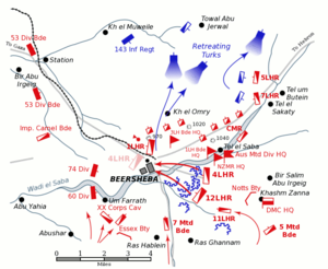 World War 1 Picture - Positions at Beersheba, dusk on 31 October
