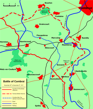 World War 1 Picture - Frontlines before and after the battle.