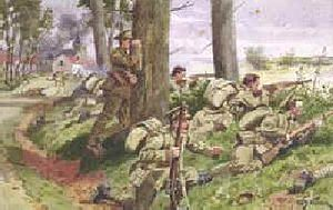 World War 1 Picture - Coldstream Guards in France, 1914. Painting by William Barnes Wollen
