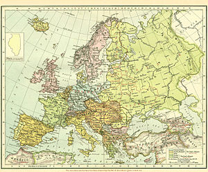 World War 1 Picture - A late 1918 map showing Europe before WWI, with new states formed after the great war in red. Includes the borders established by the Treaty of Sevres.