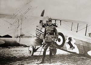 World War 1 Picture - Count Francesco Baracca, standing by his SPAD XIII fighter with the prancing horse logo that later became the emblem of Ferrari