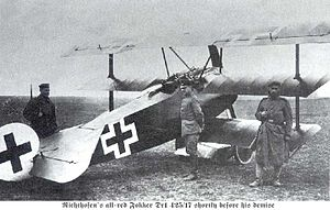 World War 1 Picture - The Fokker triplane belonging to Manfred von Richthofen (the