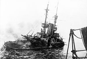 World War 1 Picture - British battleship HMS Irresistible abandoned and sinking, 18 March 1915, during the Gallipoli Campaign