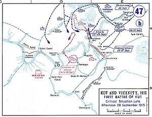 World War 1 Picture - Situation at Kut on 28 September 1915.