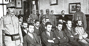 World War 1 Picture - Gavrilo Princip, seated center of the first row, on trial on 5 December 1914