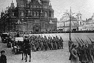 World War 1 Picture - Bolshevik forces marching on Red Square.