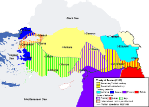 World War 1 Picture - Borders of Turkey according to the Treaty of Sx�vres (1920) which was annulled and replaced by the Treaty of Lausanne (1923) as a consequence of the Turkish War of Independence led by Mustafa Kemal Atatx�rk.