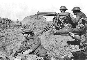 World War 1 Picture - The machine gun was one of the decisive technologies during World War I. Picture: British Vickers machine gun crew on the Western Front.
