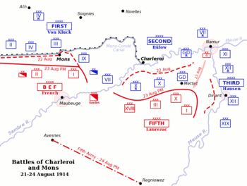 World War 1 Picture - Map of the battles of Charleroi and Mons, 21-24 August.