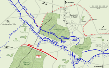 World War 1 Picture - Map of the German second position facing the British 21st Division near Bazentin le Petit, 14 July 1916. The division's start line is in red. The area captured by 9 a.m. is shown by the dashed red line.