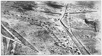 World War 1 Picture - The Hindenburg Line at Bullecourt, as seen from the air.