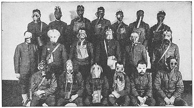 World War 1 Picture - Various gas masks employed on the Western Front during the war.