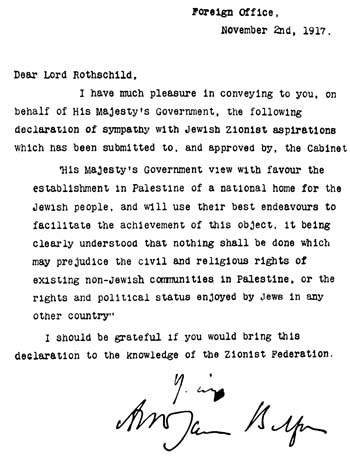 World War 1 Picture - Balfour Declaration, 1917