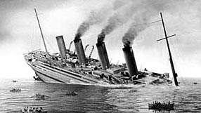 World War 1 Picture - Britannic sinks after hitting a mine as depicted in the film Britannic.