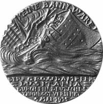 World War 1 Picture - British replica of the Lusitania medal, with the date as
