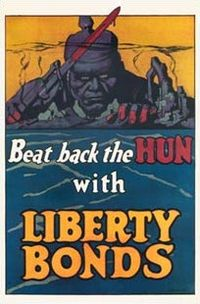 World War 1 Picture - After war was declared war bond posters demonized Germany
