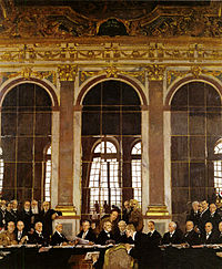 World War 1 Picture - Signing of the Treaty of Versailles in the Hall of Mirrors at the Palace of Versailles in 1919.