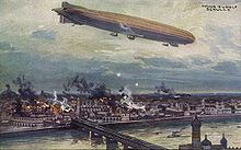 World War 1 Picture - German airship Schutte Lanz SL2 bombing Warsaw in 1914.