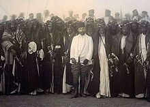 World War 1 Picture - Jamal Pasha with Iraqi tribal leaders, celebrating the completion of the al-Hindya dam on the Euphrates river near al-Hilla, south of Baghdad.