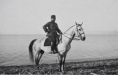 World War 1 Picture - Ahmed Djemal on the shore of the Dead Sea in 1915.