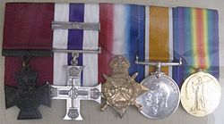 World War 1 Picture - Albert Jacka's medals on display, under perspex, whilst on loan to the State Library of South Australia, 8 August 2010.