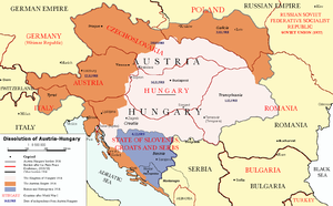 World War 1 Picture - Division of Austria-Hungary after World War I.