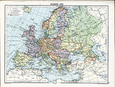 World War 1 Picture - Political divisions of Europe in 1919 after the treaties of Brest-Litovsk and Versailles and before the treaties of Trianon, Kars, Riga and the creation of Soviet Union and the republics of Ireland and Turkey.