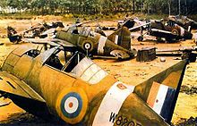 World War 1 Picture - Brewster B339E wrecks cannibalized for parts, probably in Singapore circa late January 1942. Two of the Buffalos, serials W8156 and W8207, were operated by 453 Squadron RAAF.[18]