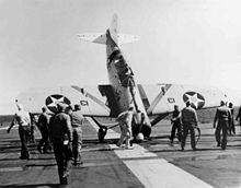 World War 1 Picture - Lt. Thach tipped this F2A-1 onto its nose on Saratoga, March 1940.