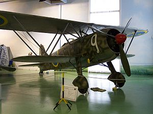 Airplane Picture - Fiat CR.42 Falco in Swedish Air Force markings.