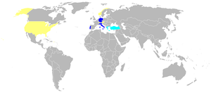 World War 1 Picture - Operators of the G.91 in dark blue, cancelled orders in light blue, evaluations in yellow.