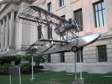 Airplane Picture - The Budd BB-1 Pioneer in front of the Franklin Institute.