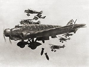Airplane Picture - Savoia Marchetti SM.81 in action (escorted by Fiat CR.32 fighters in spanish civil war)