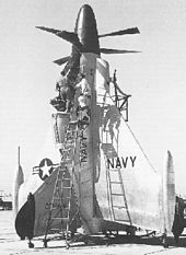 Airplane Picture - The XFY-1's pilot entering the aircraft via a ladder.