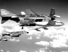 Airplane Picture - A flight of USAF F-4Cs refuel from a KC-135 tanker before making a strike against targets in North Vietnam. The Phantoms are fully loaded with 750-pound general purpose bombs, Sparrow missiles and external fuel tanks.