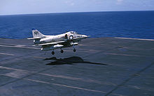 Airplane Picture - A-4C landing on the USS Kitty Hawk in 1966.