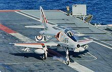 Airplane Picture - A4-G of VF-805 takes a wire aboard HMAS Melbourne in 1980