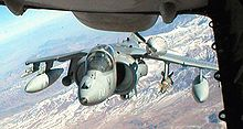 Airplane Picture - AV-8 Harrier II being refueled by a KC-10 Extender.