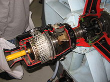 Airplane Picture - Cutaway of an air start system of a General Electric J79 turbojet. The small turbine and epicyclic gearing are clearly visible.