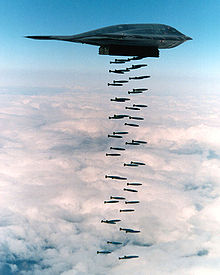 Airplane Picture - In a 1994 live fire exercise near Point Mugu, California, a B-2 drops forty-seven 500lb (230 kg) class Mark 82 bombs, which is more than half of a B-2's total ordnance payload