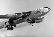 Airplane Picture - Bomber NB-52A (s/n 52-003), permanent test variant, carrying an X-15, with mission markings; horizontal X-15 craft silhouettes denote glide flights, diagonal silhouettes denote powered flights.