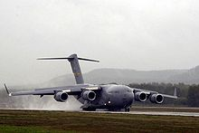 Airplane Picture - The C-17 Globemaster III, derived from the YC-15, shares a similar configuration, except for having swept wings.