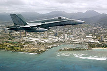 Airplane Picture - A Canadian CF-18 flies off the coast of Hawaii