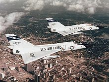 Airplane Picture: Convair F-106A (front) and F-106B of the 125th Fighter-Interceptor Group, Florida Air National Guard, over Jacksonville, Florida