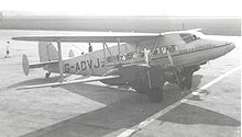 Airplane Picture - DH.86B G-ADVJ of charter airline Bond Air Services at Liverpool (Speke) Airport in March 1950